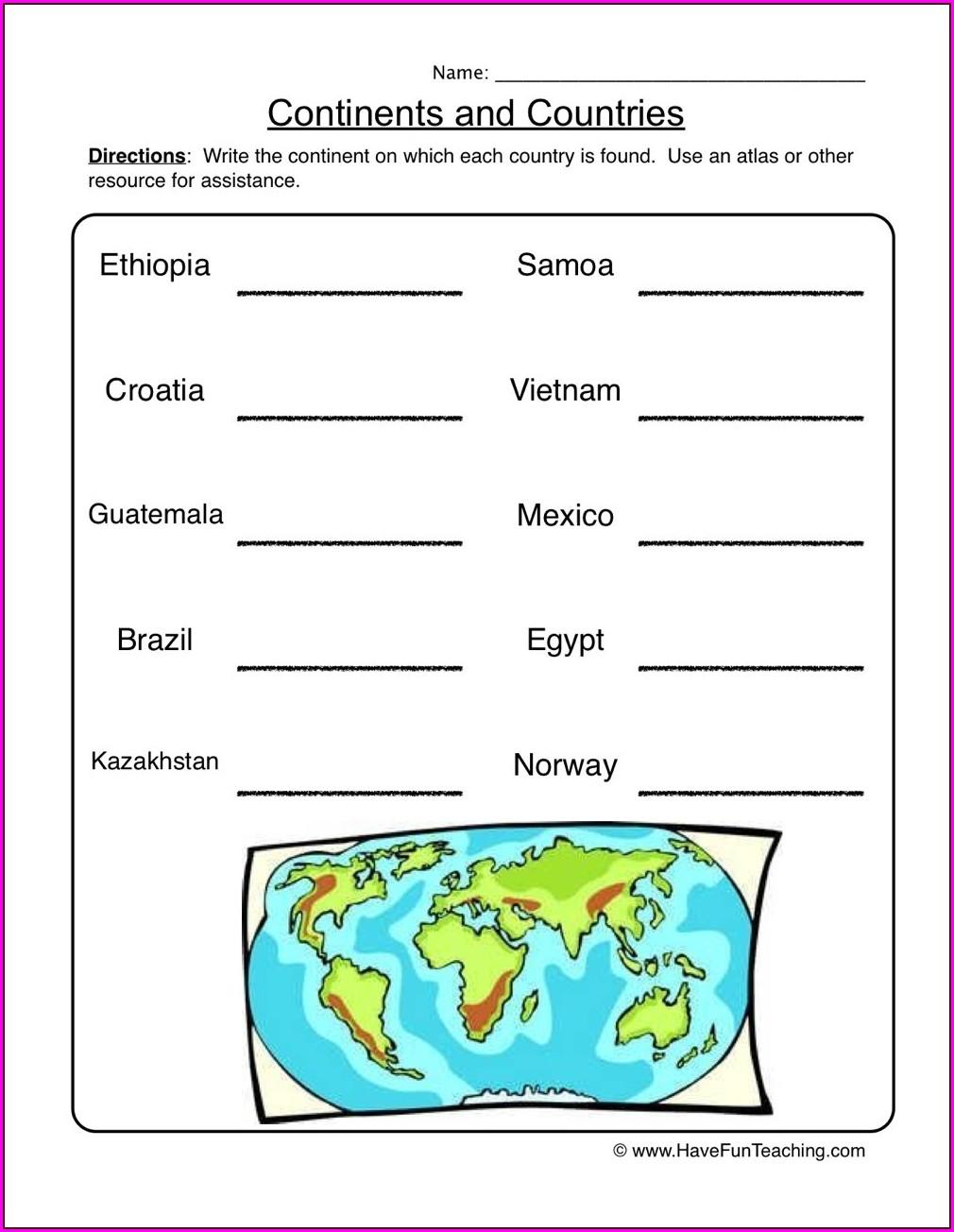 Continents Worksheet First Grade