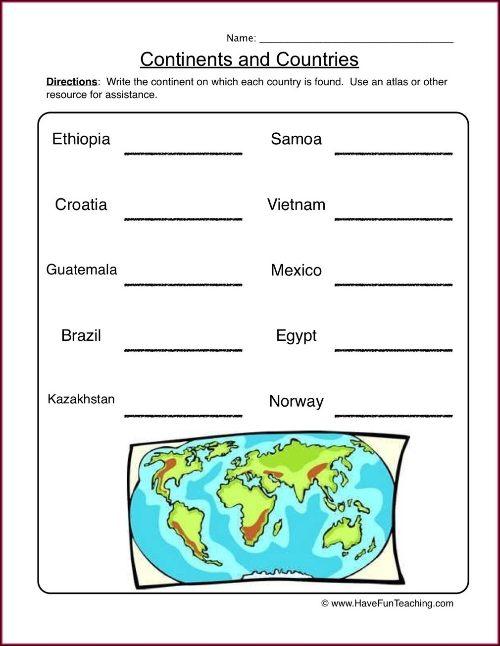 Continents Worksheet Second Grade