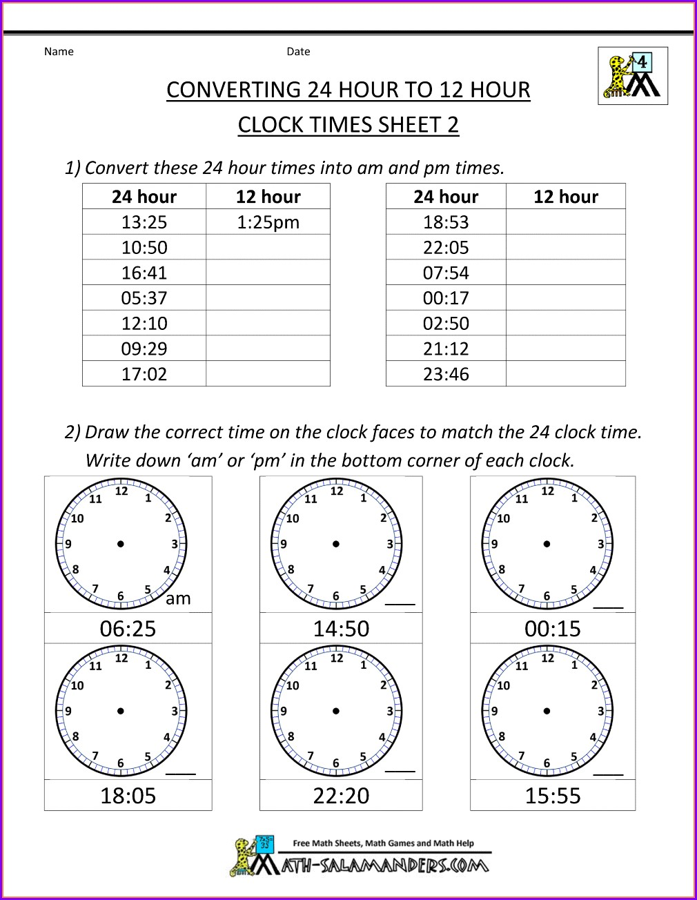 Converting Analogue To Digital Time Worksheets