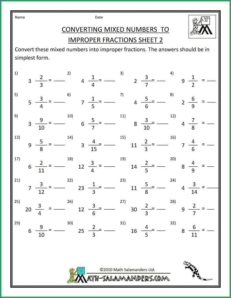 Converting Mixed Numbers To Improper Fractions Worksheet With Answers