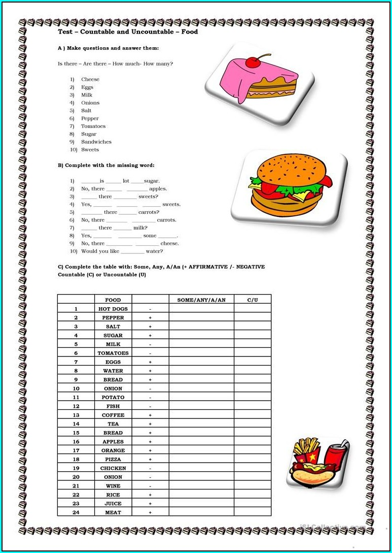 Countable And Uncountable Food Worksheet