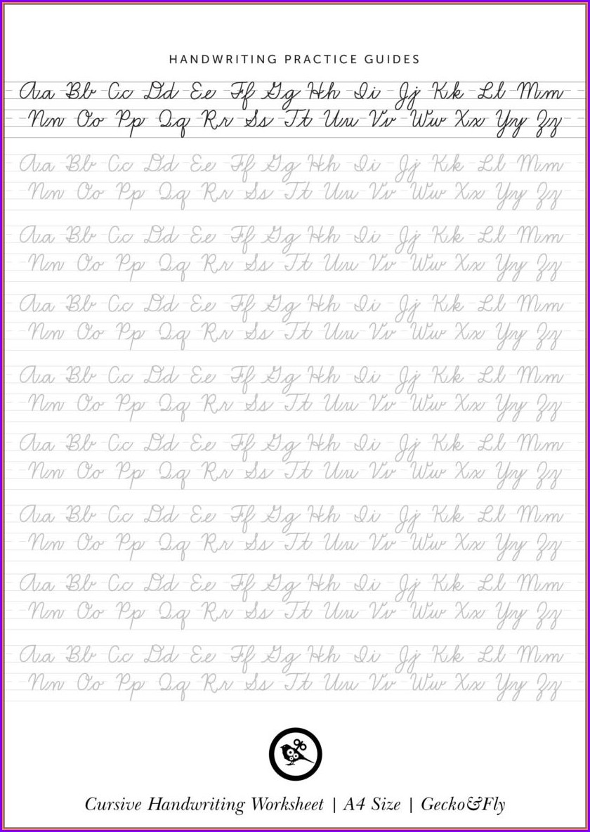 Cursive Handwriting Samples Printable