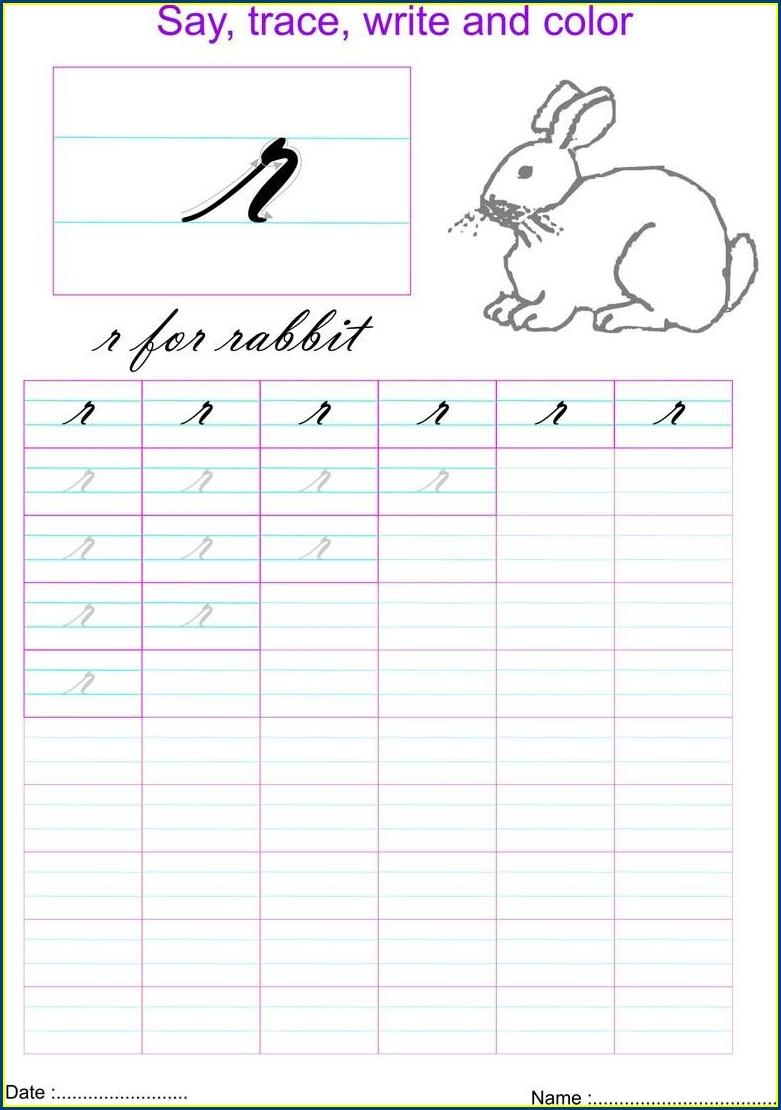 Cursive Letter R Worksheet