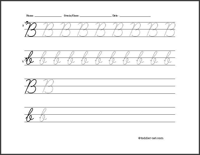 Cursive Writing Letter B Worksheets