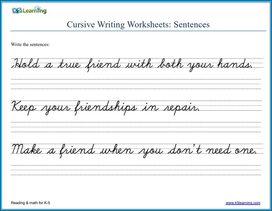 Cursive Writing Sentences Worksheets Printable