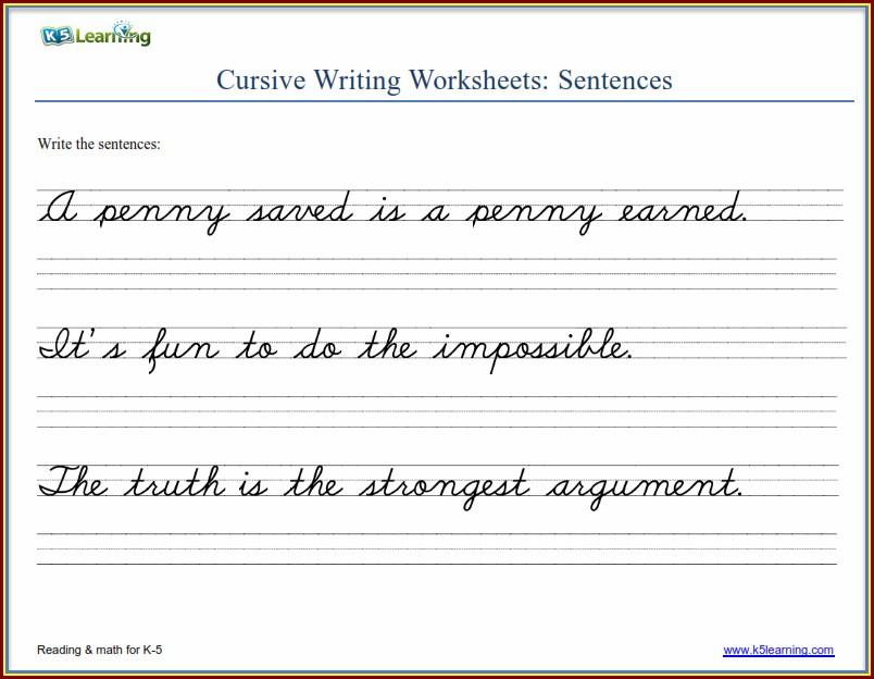 Cursive Writing Worksheets High School