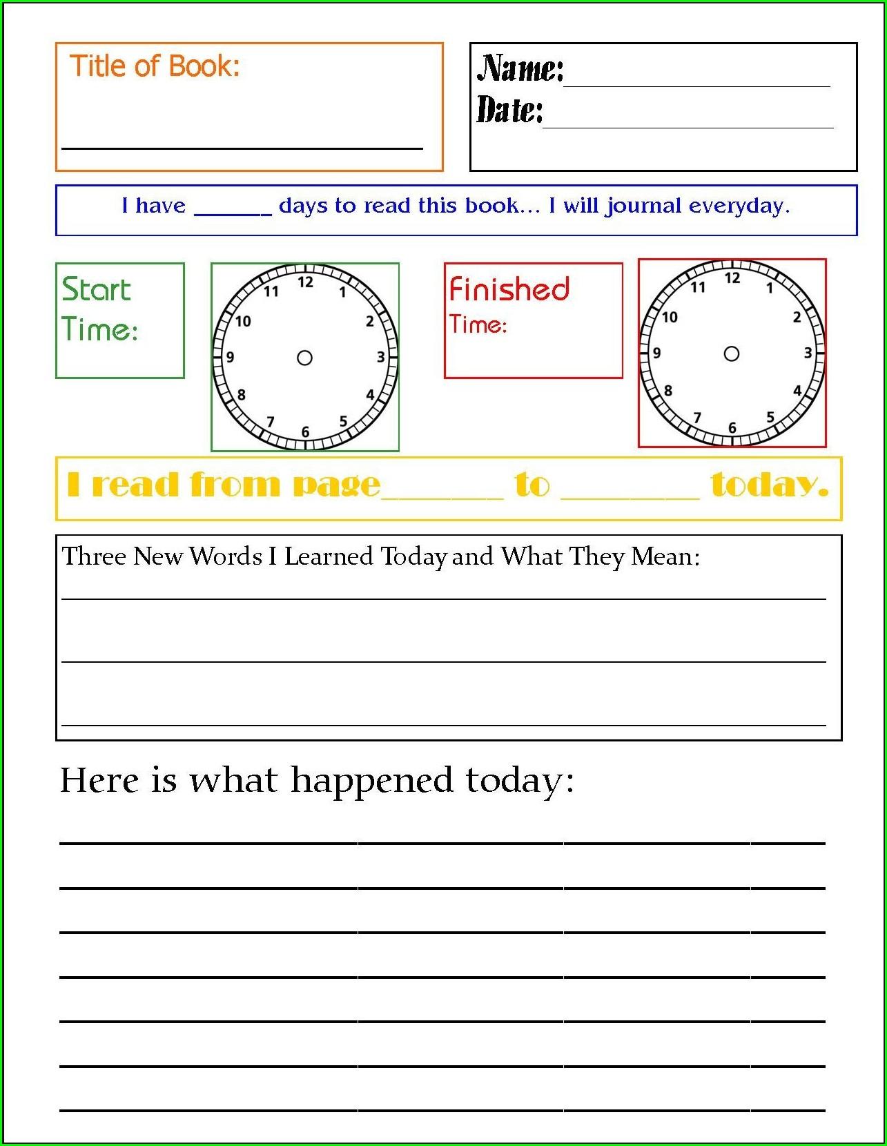 Daily Reading Journal Worksheet
