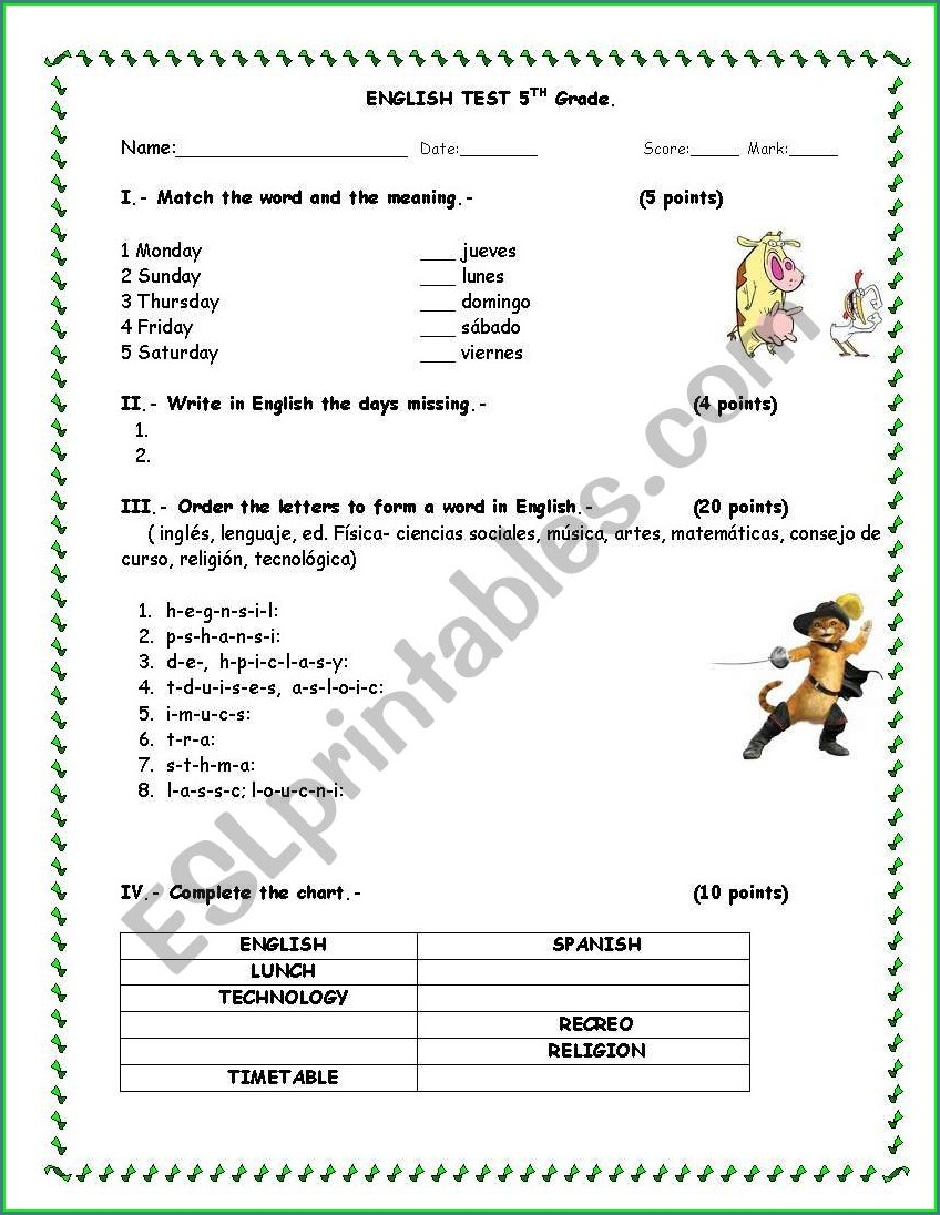 Days Of The Week In English Worksheet