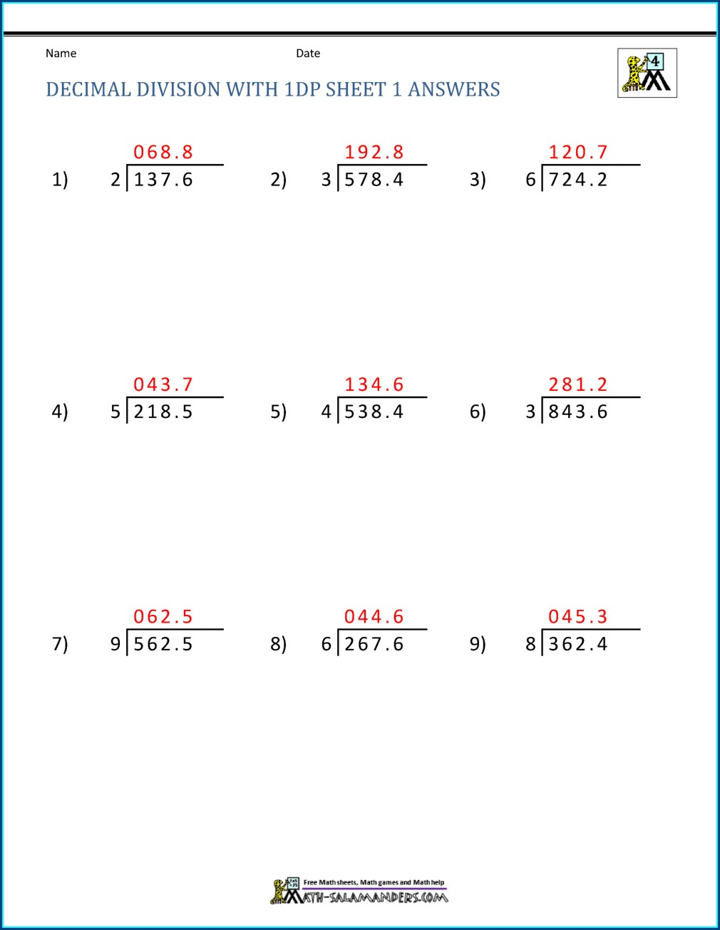 Decimal Division Word Problems Worksheet Pdf
