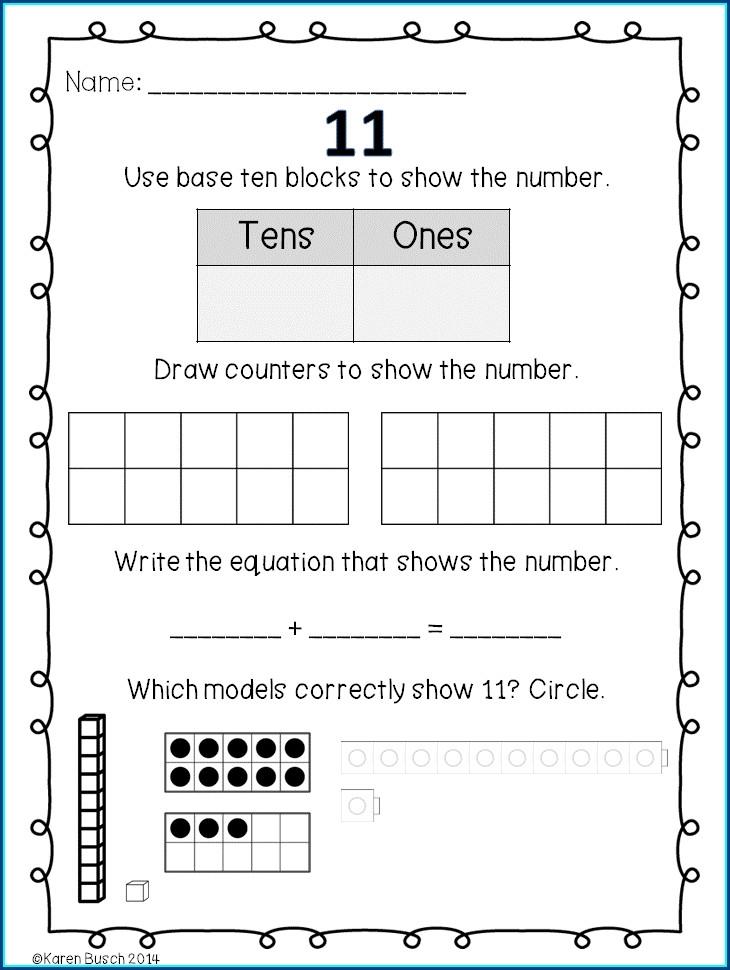 Decomposing Numbers 11 19 Kindergarten Worksheets