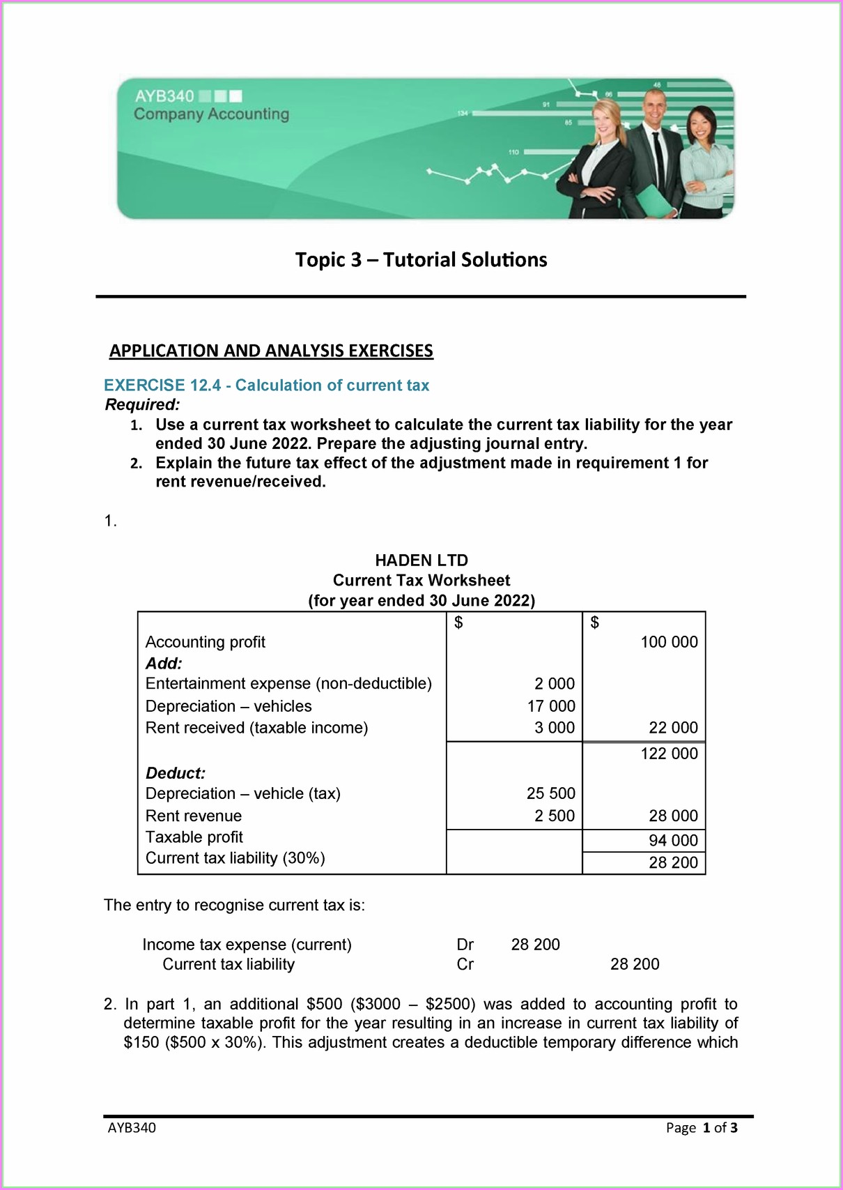 Deferred Tax Worksheet Movement During Year