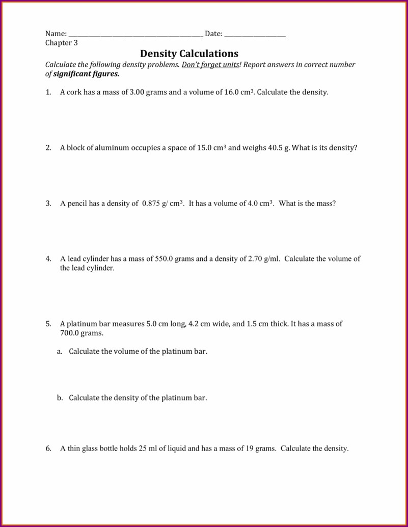 Density Calculations Worksheet 1 Key