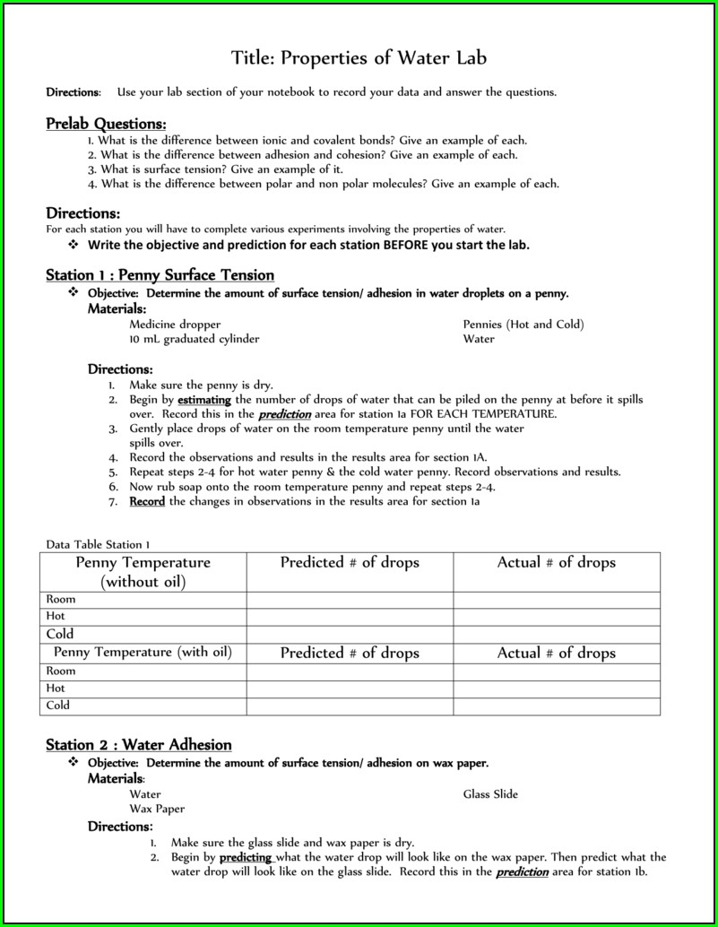 Density Of Water Lab Worksheet Answers