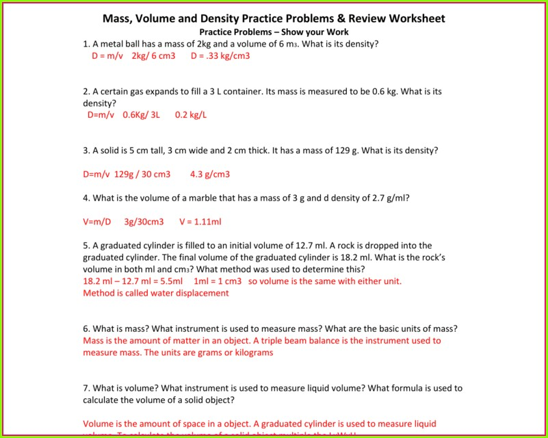 Density Practice Problems Worksheet Answer Key
