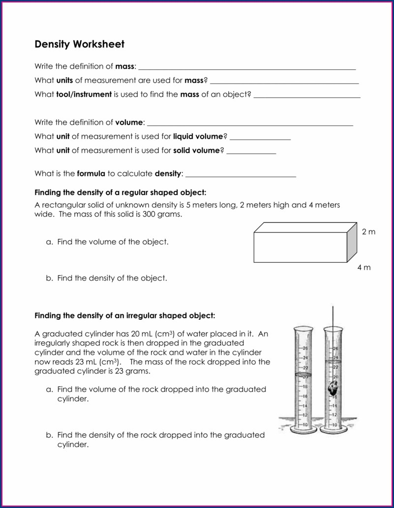 Density Practice Worksheet Doc