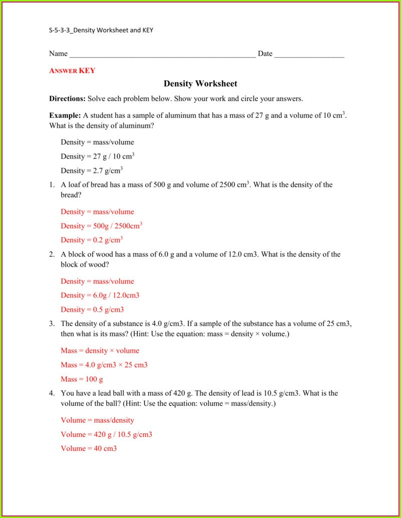 Density Problems Worksheet Met 101 Answer Key