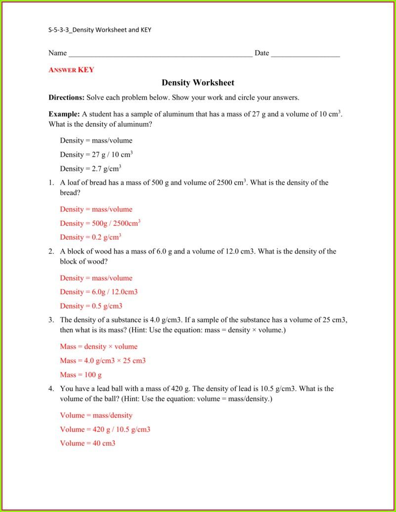 Density Problems Worksheet Met 101 Answer Key