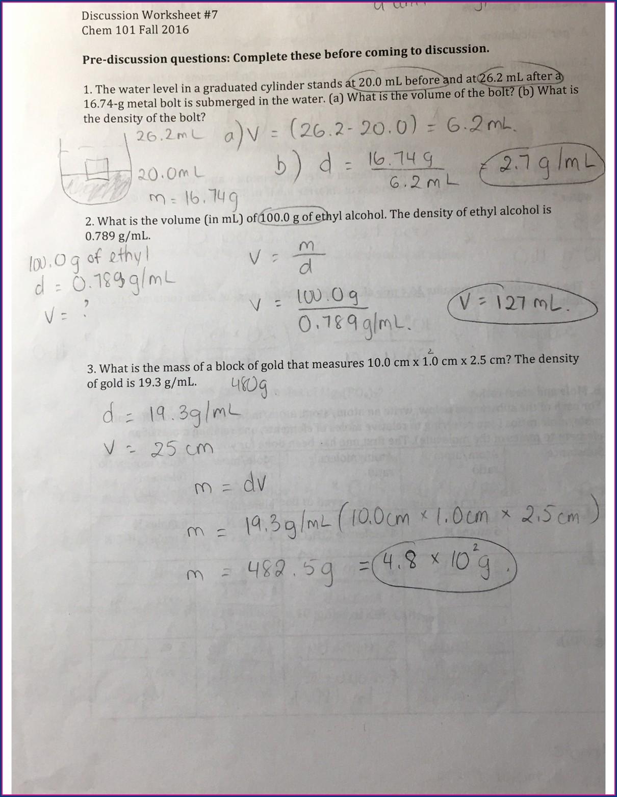 Density Worksheet Chemistry 101