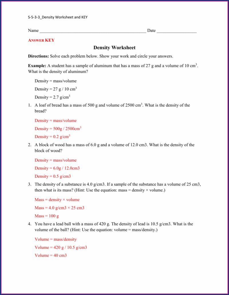 Density Worksheet Grade 9 Answers