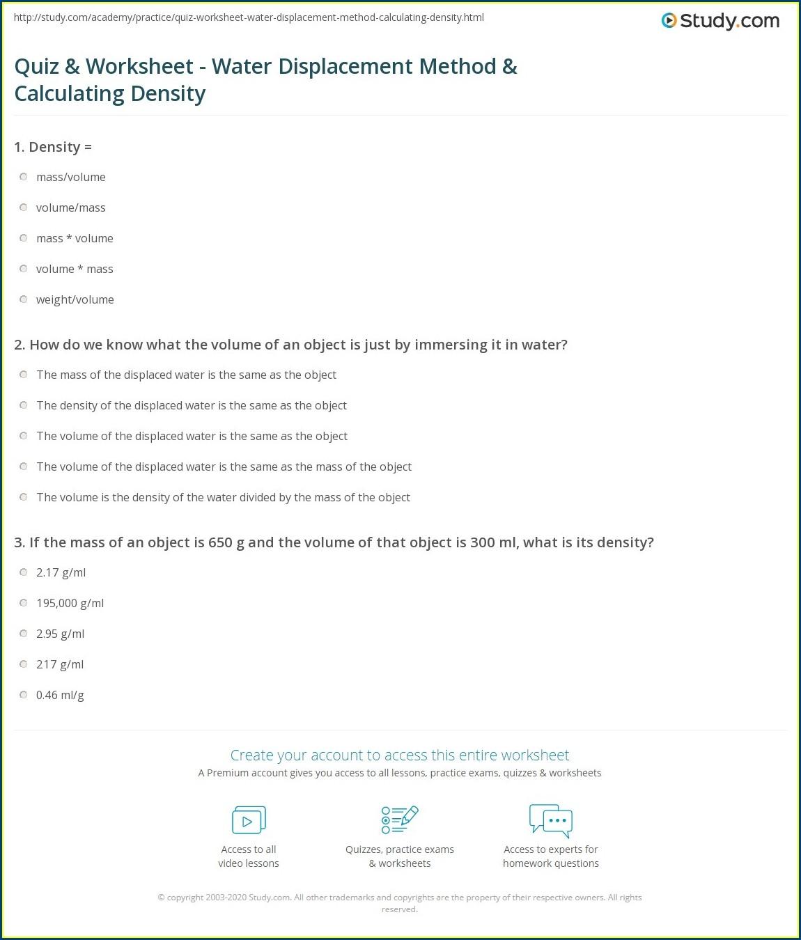 Density Worksheet Water Displacement