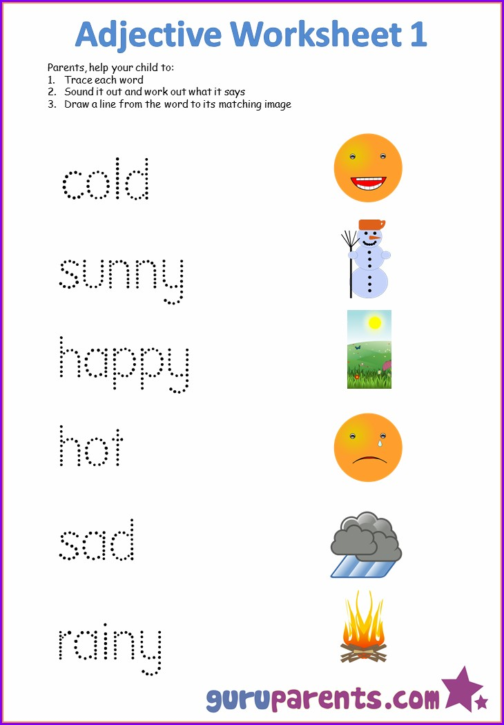 Describing Words Worksheet For Nursery