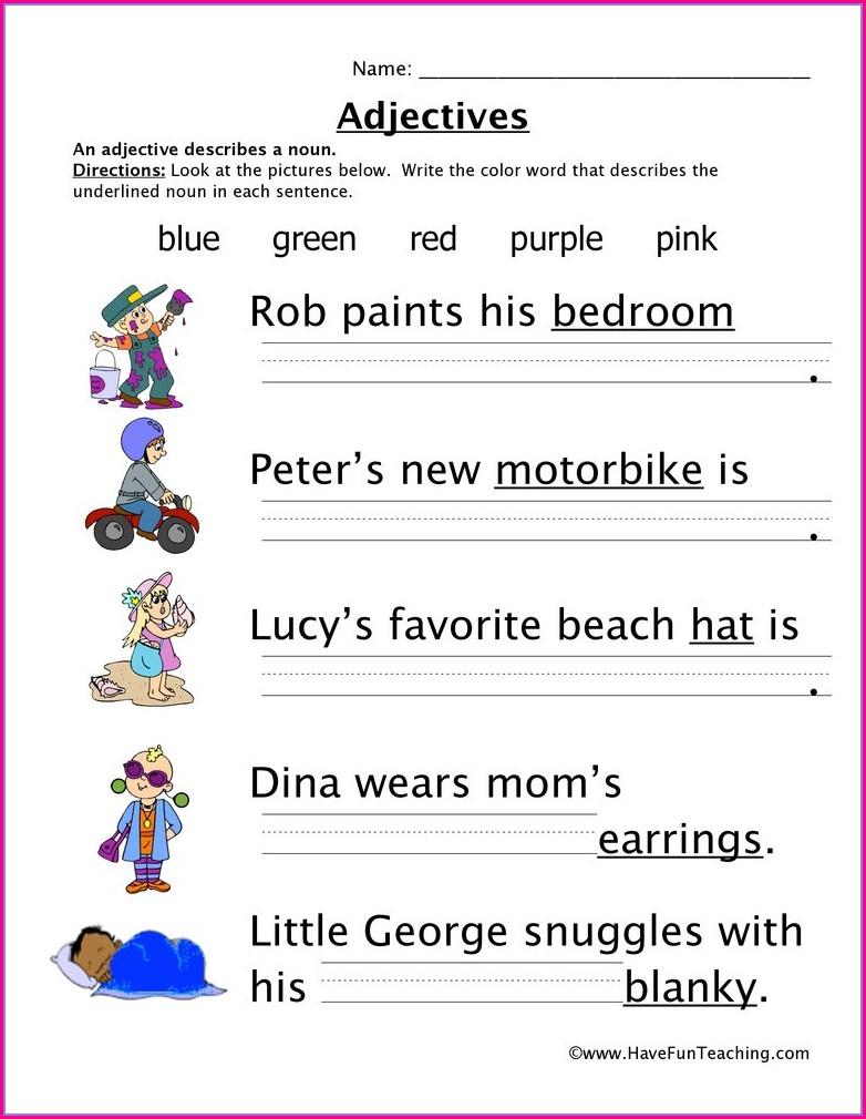 Describing Words Worksheet Year 1