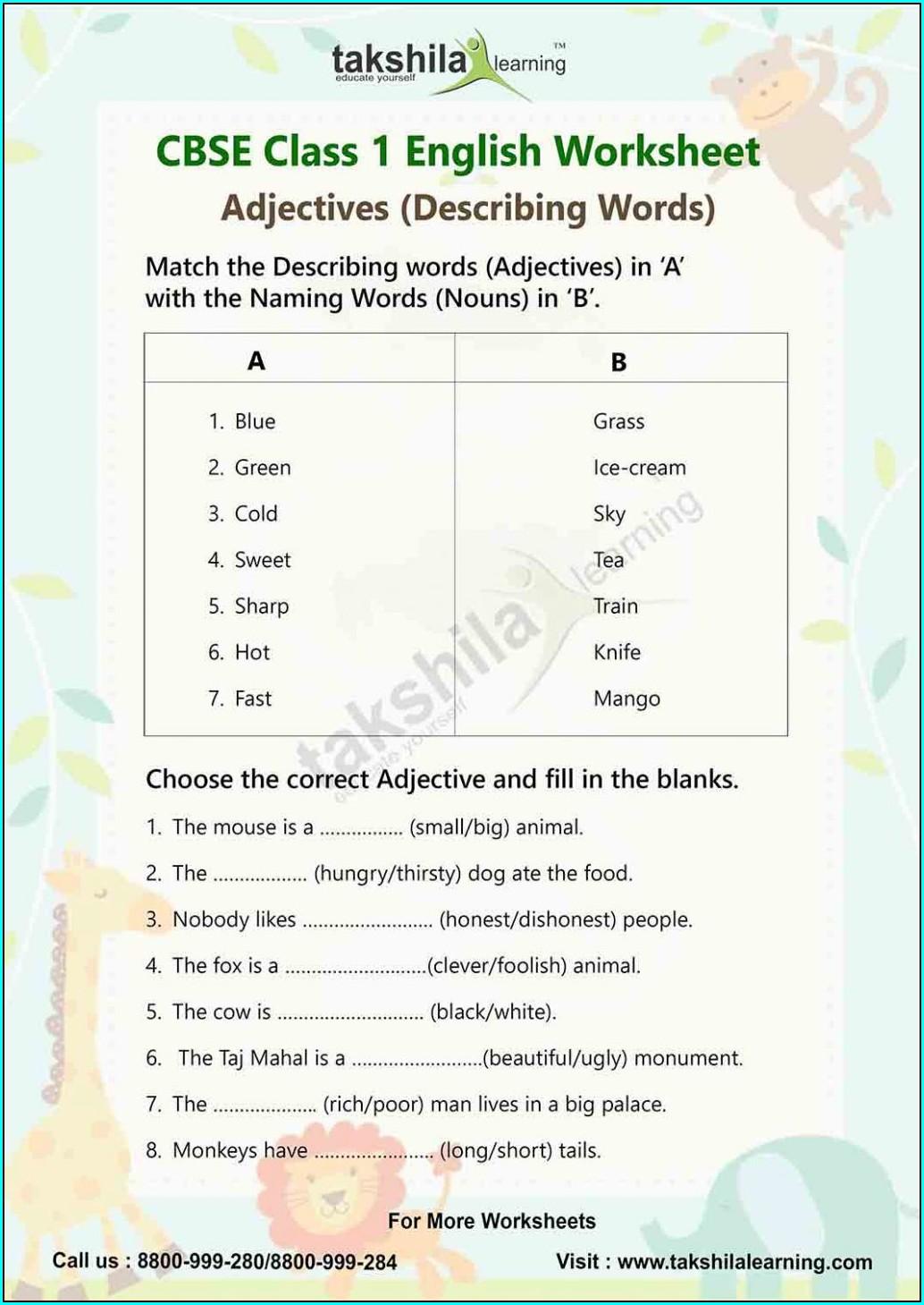 Describing Words Worksheets For Grade 4