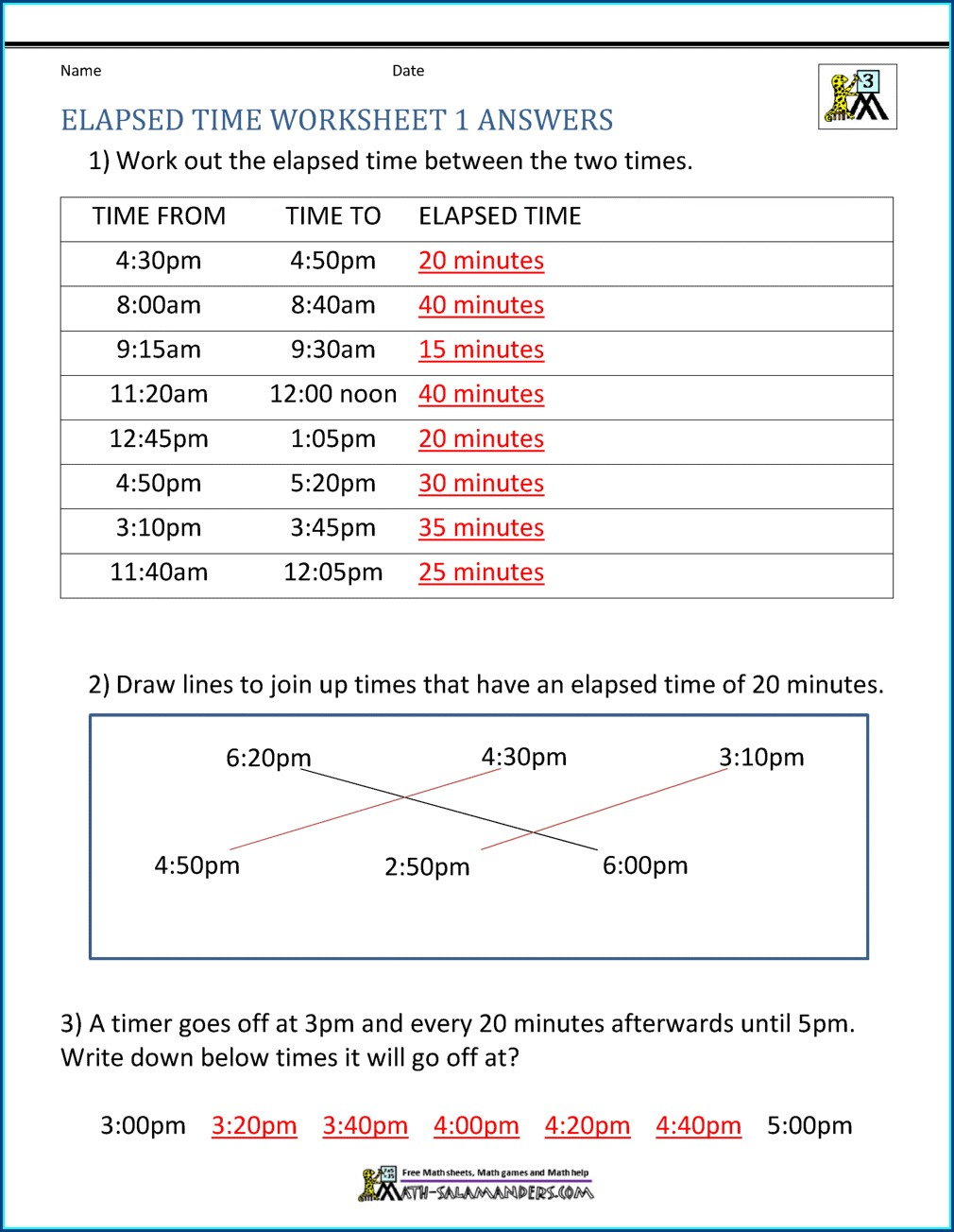 Digital Time Worksheet Year 4