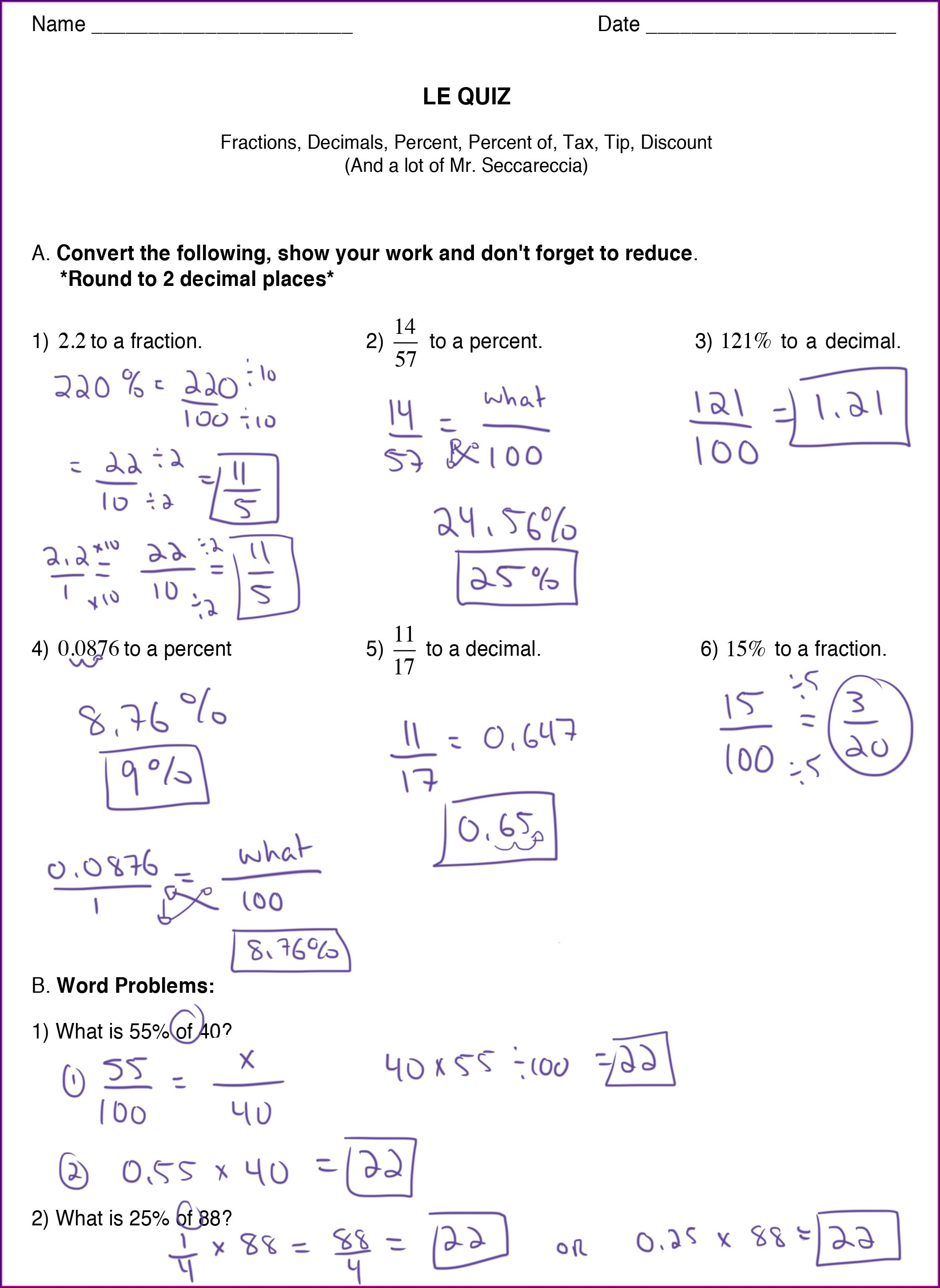 Discount Tax And Tip Worksheet Answer Key Worksheet ...