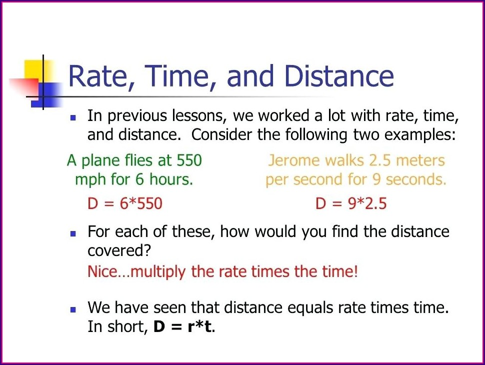 Distance Math Word Problems Worksheets