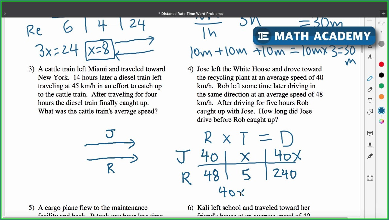 Distance Rate Time Word Problems Worksheet Answers