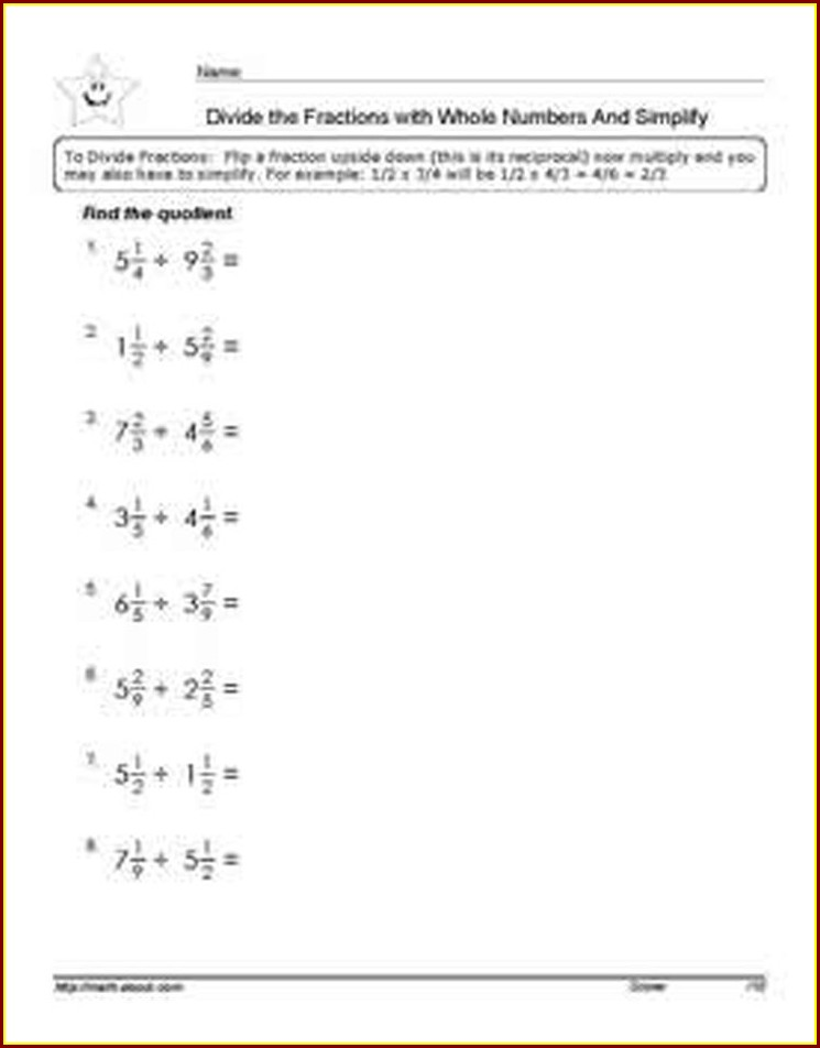 Dividing By Mixed Numbers Worksheet
