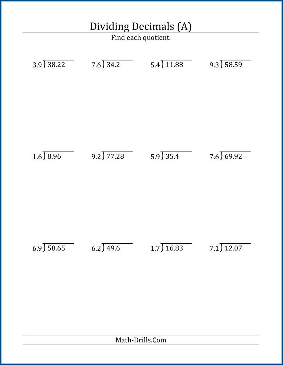 Dividing Decimals By Whole Numbers Worksheet Tes