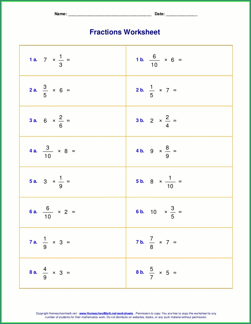 Dividing Fractions By Whole Numbers Worksheets Pdf