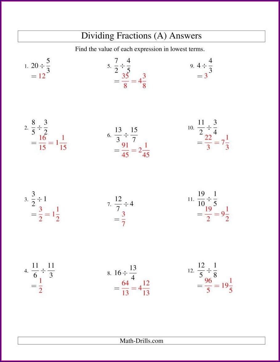 Dividing Fractions Into Whole Numbers Worksheets