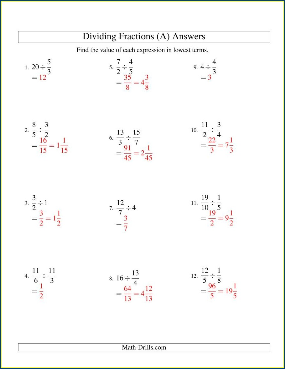 Dividing Whole Numbers By Unit Fractions Worksheet Pdf
