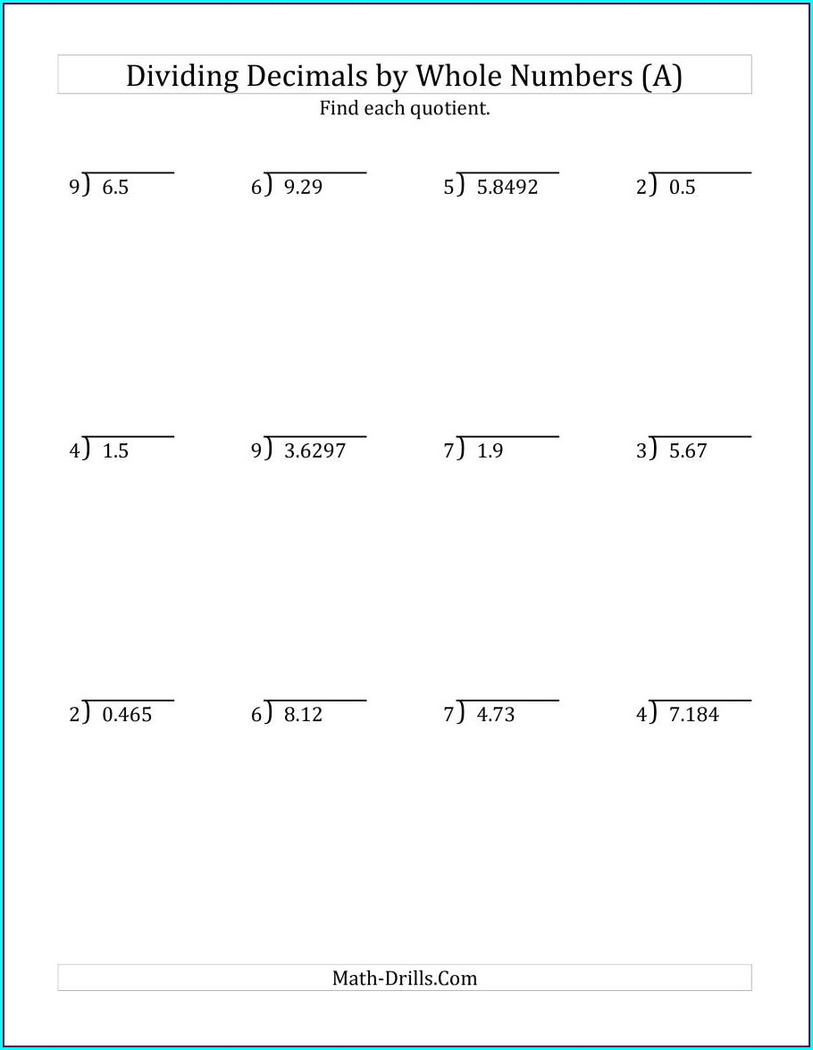 Dividing Whole Numbers With Decimal Quotients Worksheets