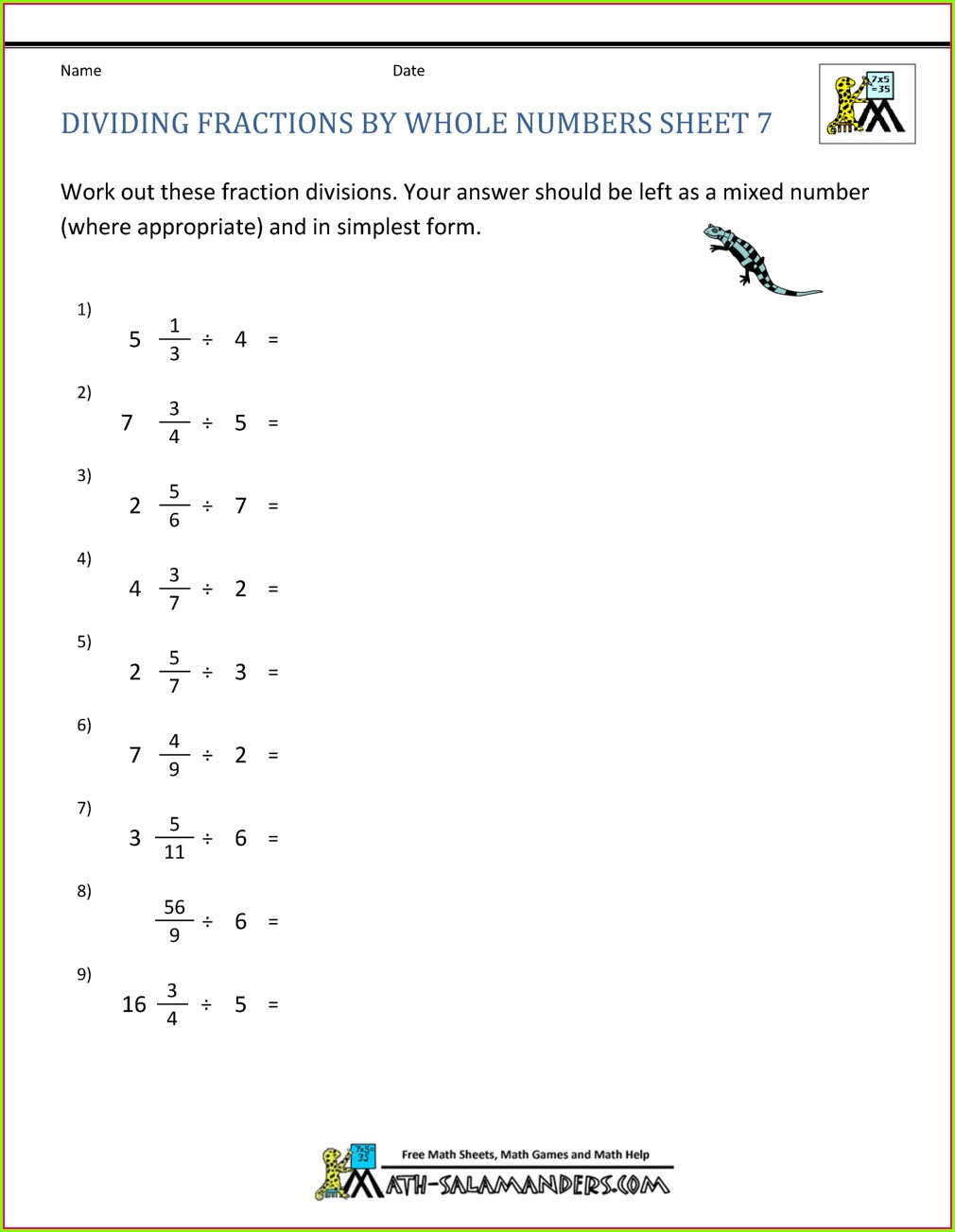 Division Of Whole Numbers Worksheet Pdf
