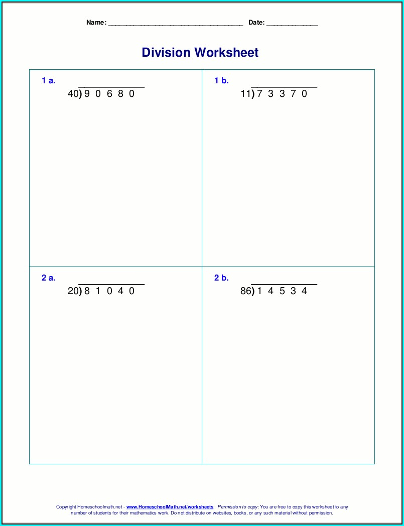 Division Of Whole Numbers Worksheets