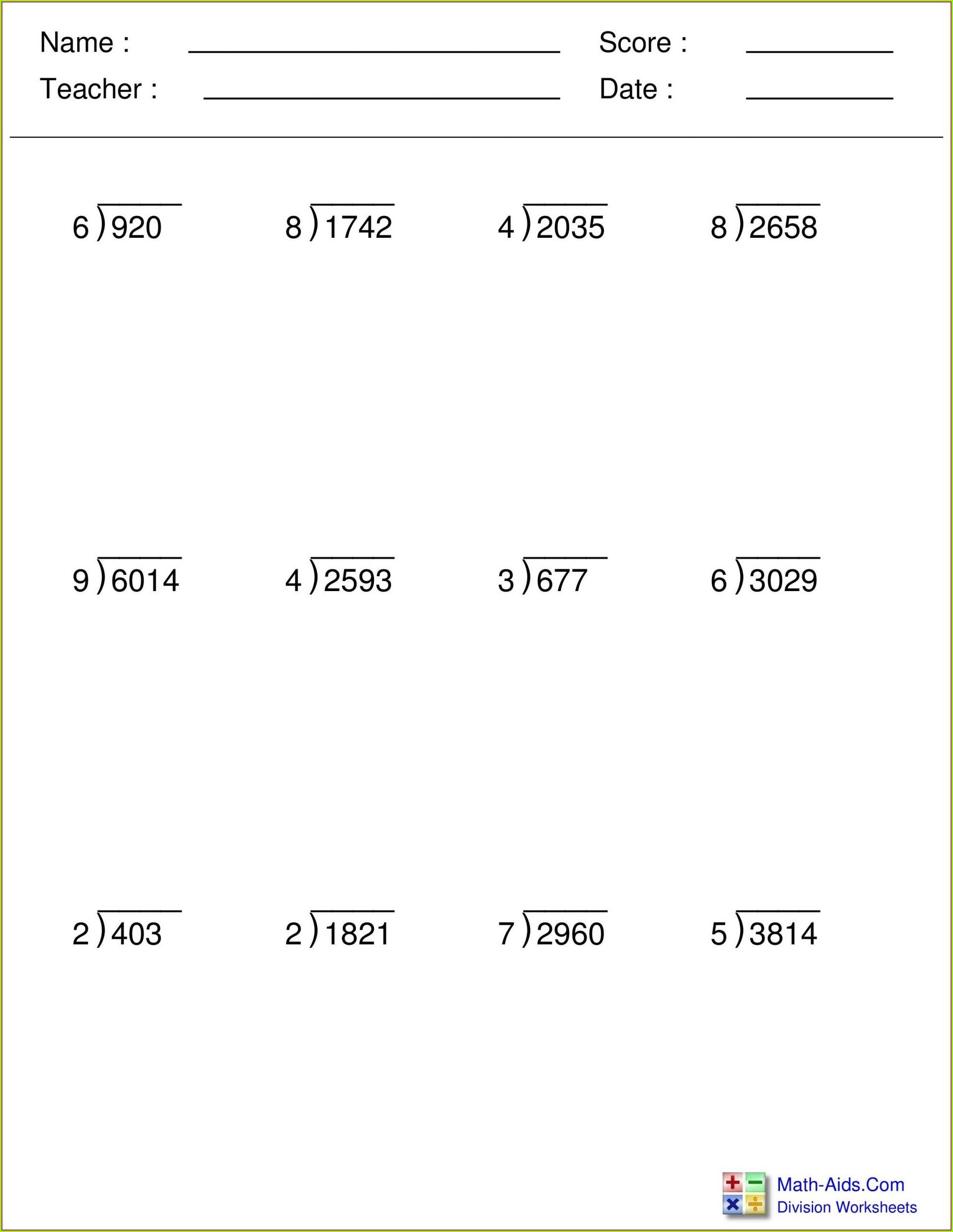 Division Worksheet Generator With Remainders