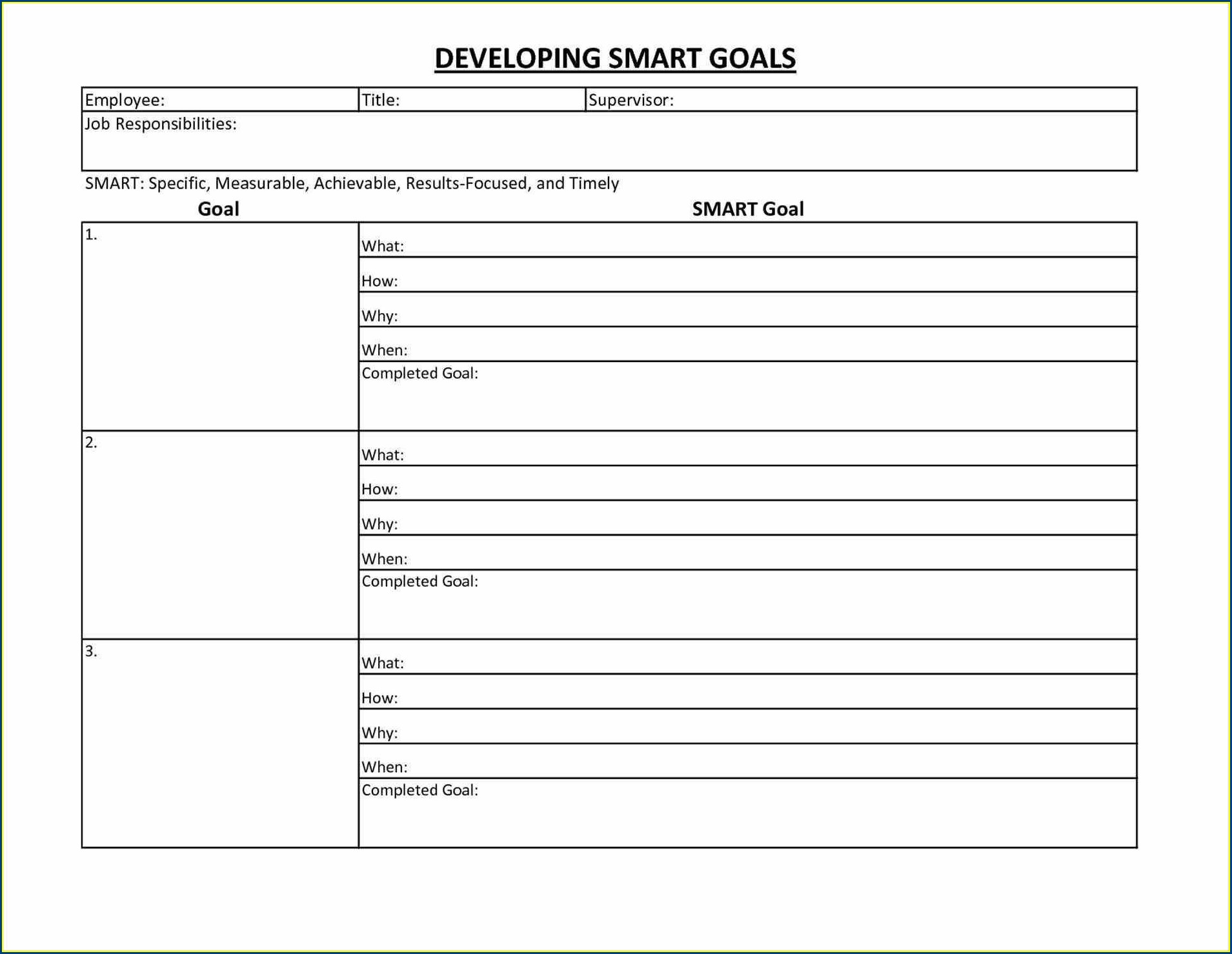 Downloadable Printable Pdf Goal Setting Worksheet