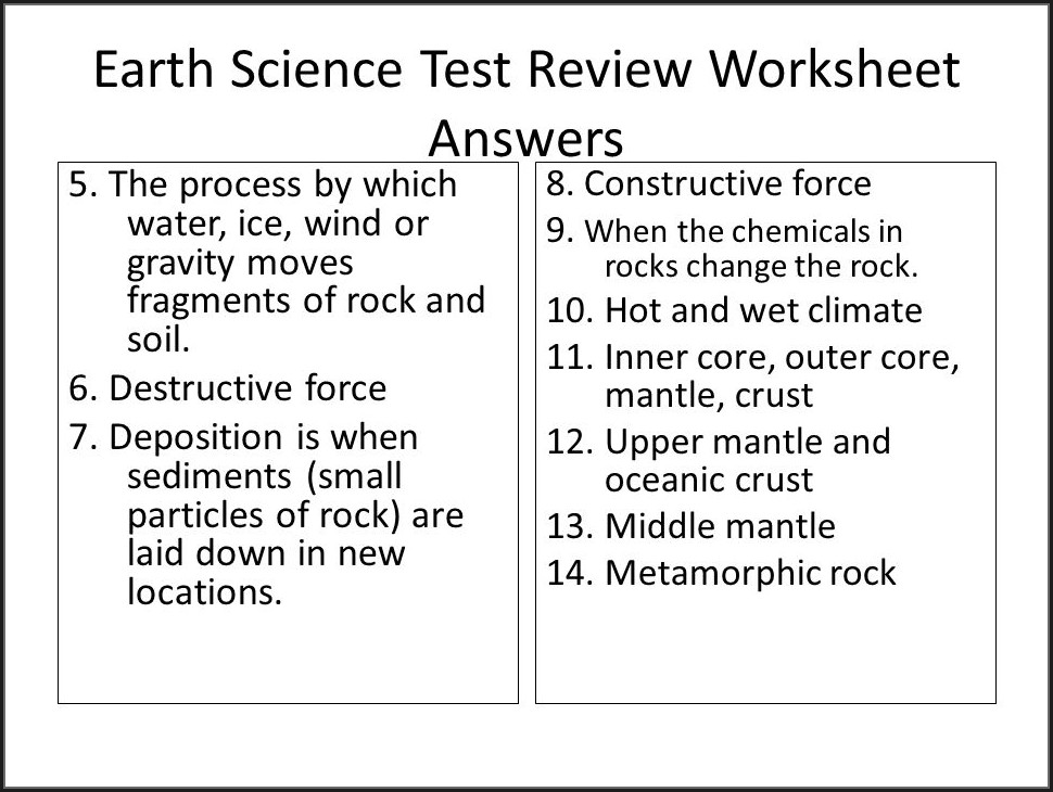 Earth Science Worksheet Answers