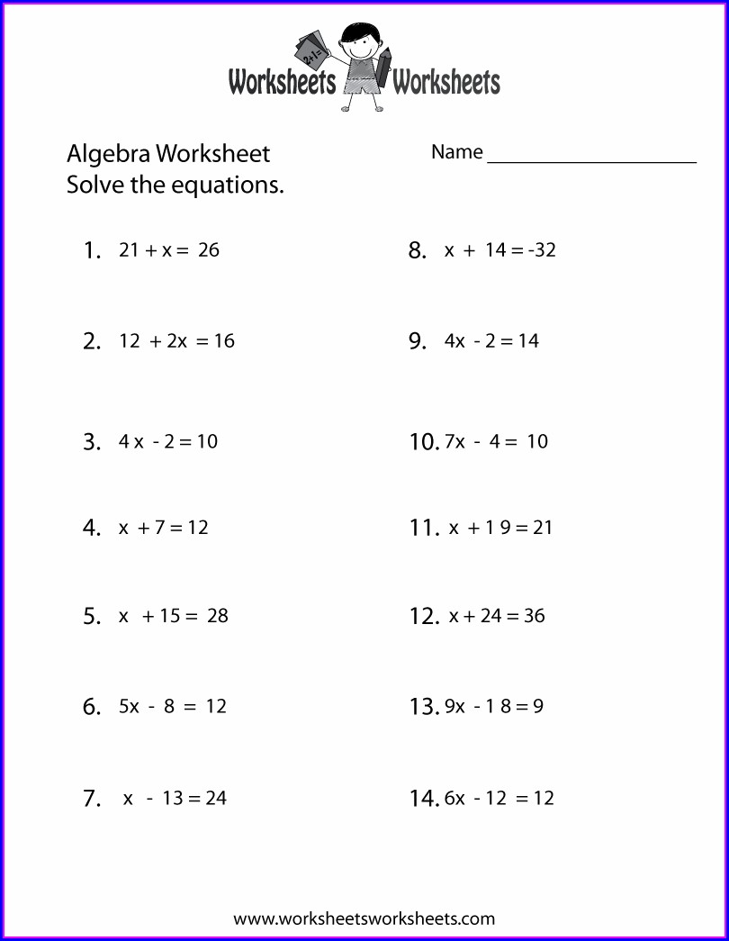 Easy Algebra Worksheets Grade 6