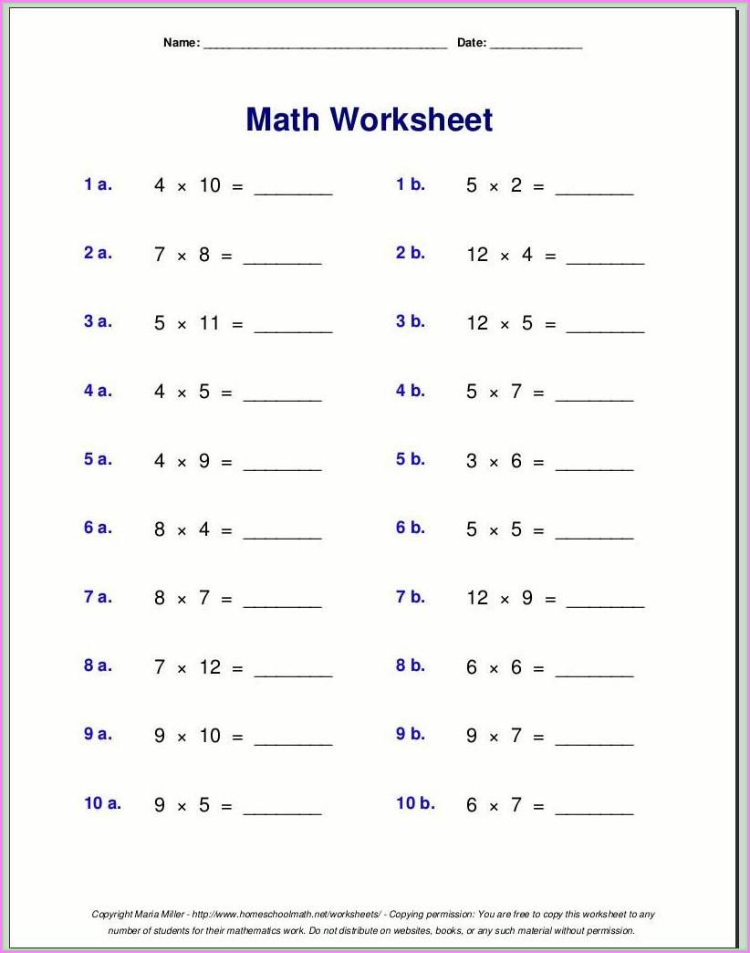 Easy Multiplication Worksheet Grade 1