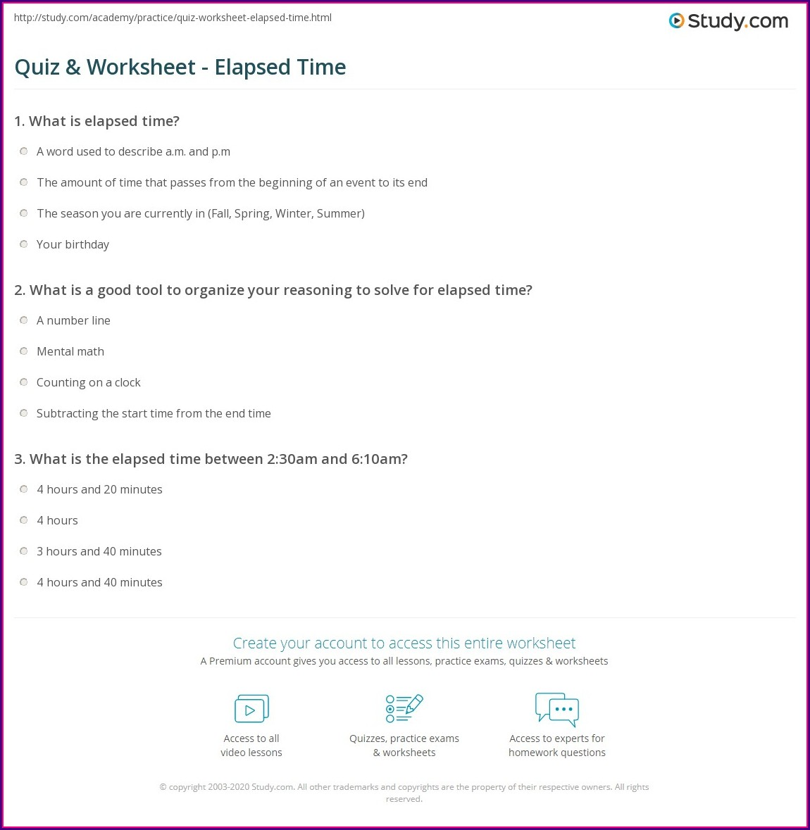 Elapsed Time Quiz Worksheet