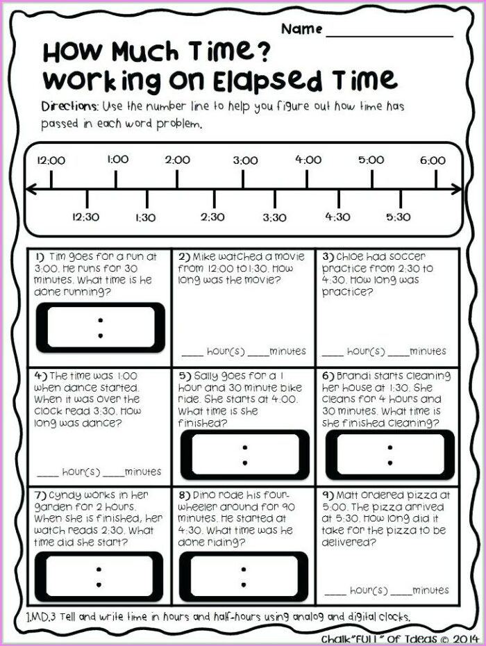 Elapsed Time Word Problems 3rd Grade Worksheets