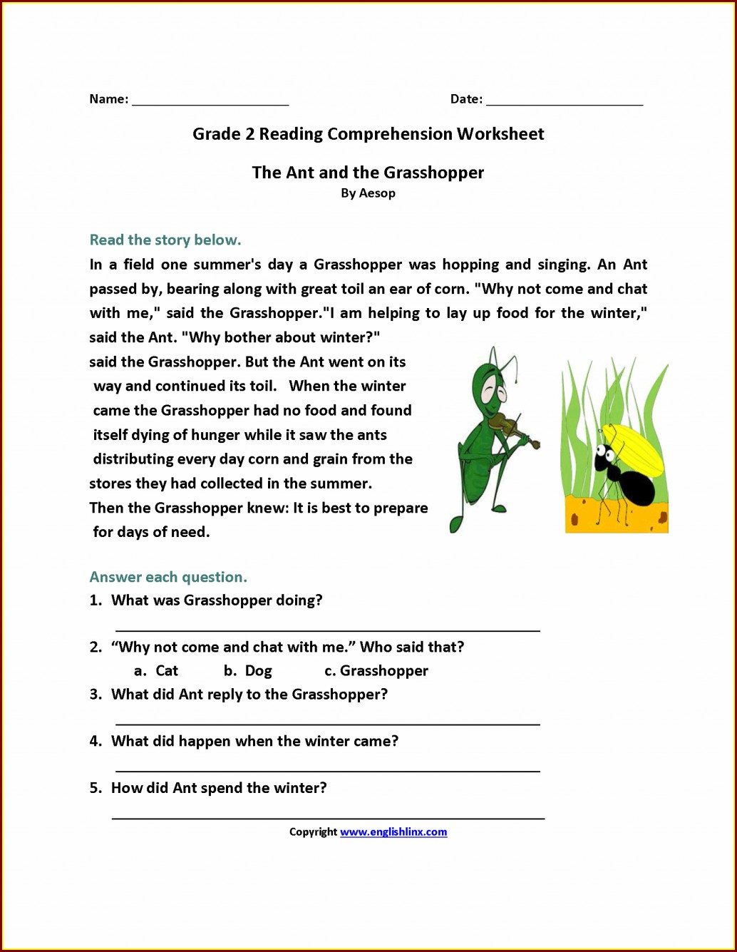English Comprehension Worksheet Grade 2