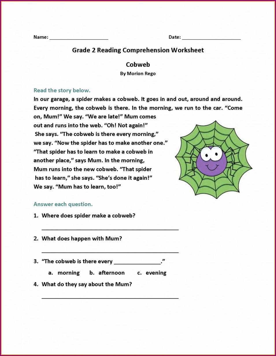 English Comprehension Worksheets For Grade 2