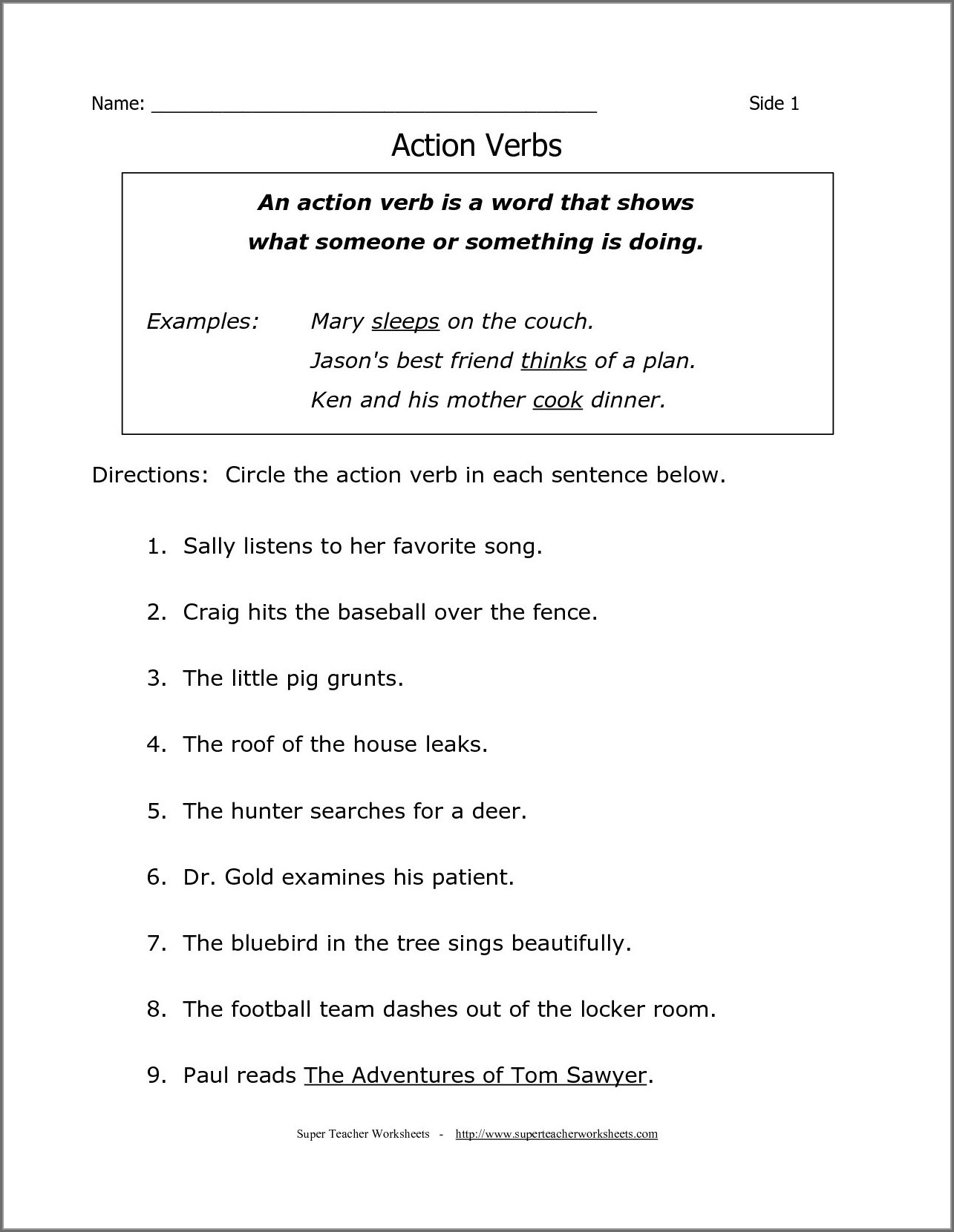 English Grammar Free Printable Grade 2 Worksheets