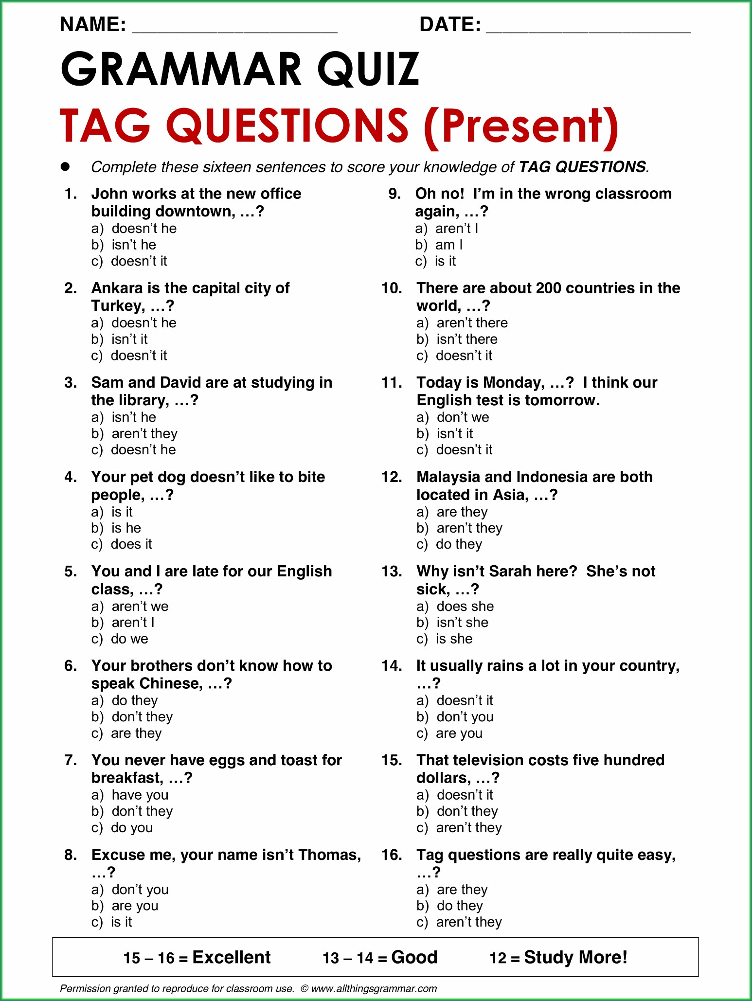 English Grammar Worksheet Question Tags